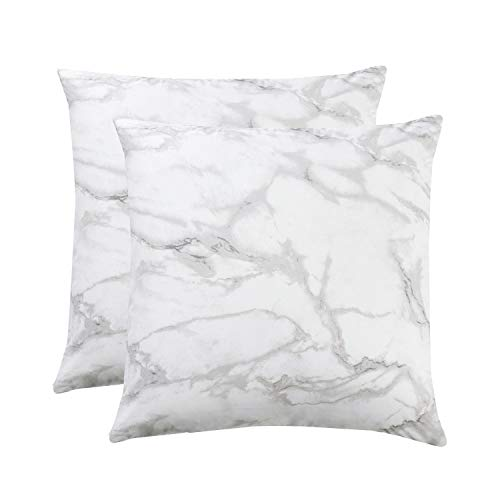 Square Pattern Pillow - Wake In Cloud - Pack of 2 Pillow Cases, 100% Cotton Pillowcases, Marble Pattern in Grey Gray Black and White (European Size, 26x26 Inches)