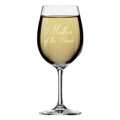 My Personal Memories Bridal Party Wine Glasses with Stem - Engraved Wine Glass Gift Favor (Script Style, Mother of the Bride 14oz)