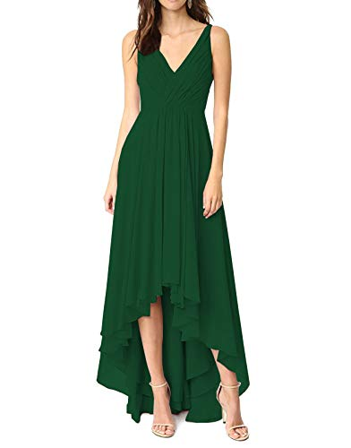 Women's Short Front Long Back Wedding Party Dress A Line Chiffon Formal Dresses Green,8