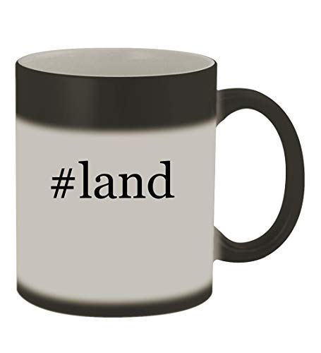 #land - 11oz Color Changing Hashtag Sturdy Ceramic Coffee Cup Mug, Matte Black ()