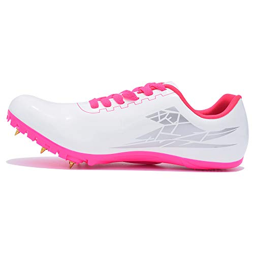 Thestron Track Shoes Spikes Mens Womens Distance Running Sneakers Athletic Sprinting Track and Field Racing Shoes with Spikes Boys Girls (US 4,White-Pink)