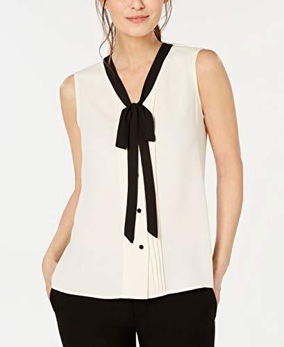 Anne Klein Tie-Front Blouse (White, M)