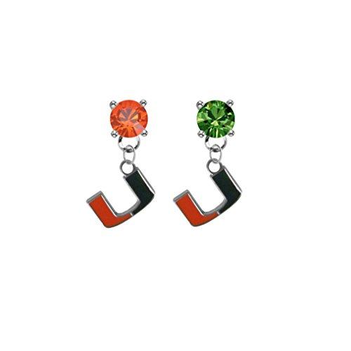 Miami Hurricanes Orange & Green Crystal Stud Post Dangle Earrings