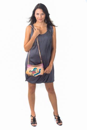Zimbelmann Lola - Bolso cruzados de cuero para mujer azul multicolor Mehrfarbig