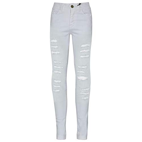 Kids Girls Skinny Jeans Denim Ripped Fashion Stretchy Pants Jeggings 3-13 Years (White Skinny Jeans Girls)