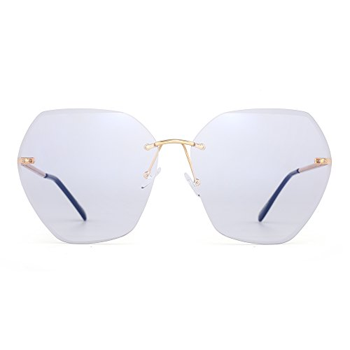 Oversize Rimless Gradient Sunglasses Square Clear Eyeglasses Women (Gold / - For Eyeglasses Women Square