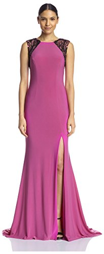 Terani Special Occasion Dress - Terani Couture Women's Gown with Beaded Shoulders, Fuchsia Black, 2 US