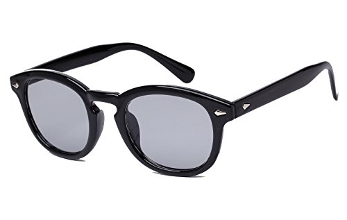Bestum Retro Inspired Sunglasses With Rivets Tinted Lens UV400 (Black, - Grey Tinted Sunglasses