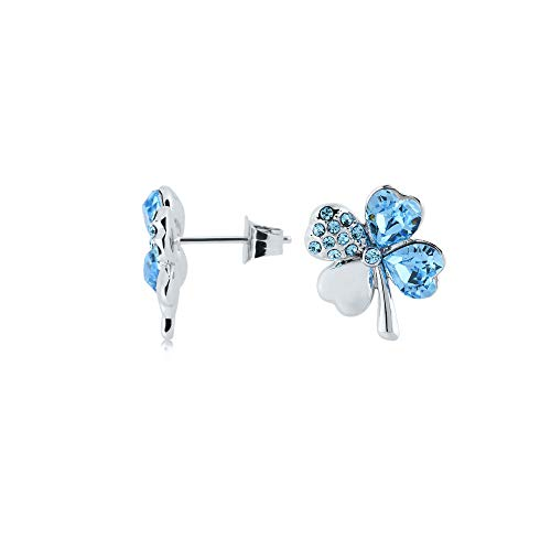 UPSERA 4 Leaf Clover Earrings Blue Crystals from Swarovski Silver Tone Plated Shamrock Post Earrings Jewelry