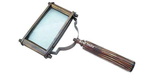 ARES INDIA Antique Color Vintage Style Brass Rectangle Big Magnifying Glass Magnifier Hand Held Excellent Magnification from Ares India