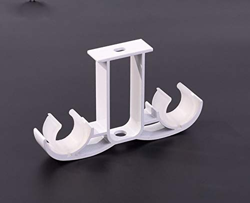 Guard 2 Pack Double Curtain Rod Brackets,Ceiling Mount Bracket,Aluminum Alloy Double Curtain Drapery Rod Brackets 28-32mm/1.1-1.25 inch Diameter Rod,Ivory White Finish