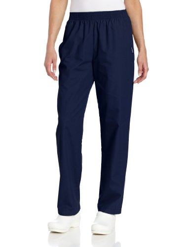 Landau Women's Plus Comfortable Relaxed Fit 2-Pocket Elastic Waist Scrub Pant, Navy, 3X-Large Petite