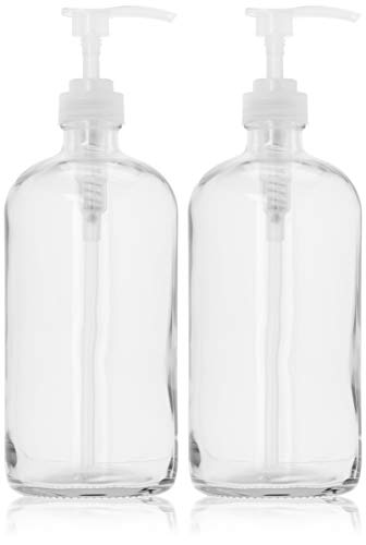 32-Ounce Large Clear Glass Boston Round Bottles w/Natural Color Pumps. Great for Lotions, Soaps,Oils, Sauces - Food Safe and Medical Grade - by kitchentoolz (Pack of 2)