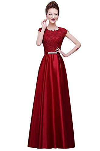 Drasawee Women Long Satin Bridal Dress Lace Prom Party Formal Gowns Burgundy US10