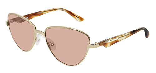Balenciaga BB0011S Sunglasses 003 Gold-Havana/Brown Lens 57 mm