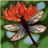 Dragonfly with Red Flower Decorative Ceramic Wall Art Tile 4x4