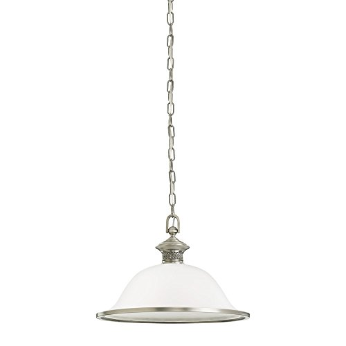 (Sea Gull Lighting 65350-965 Laurel Leaf One-Light Pendant with Etched Ripple Glass Shade, Antique Brushed Nickel)