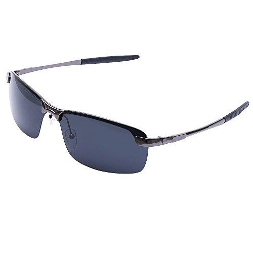 Polarized Sunglasses Rectangle Half Frame Rimmed Resin Lens UV Protection for - Sunglasses Clearance
