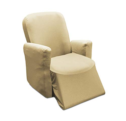 Jersey Slipcover, Soft Form Fitting, Solid Color (Recliner, TAN) ()