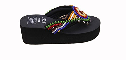 Beauqueen Colorful Femme perlée Beach National Sandals Slope Heel Muffled fond épais , 38