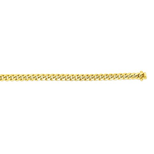 14k Yellow Gold 7mm Miami Cuban Open Link Chain 24