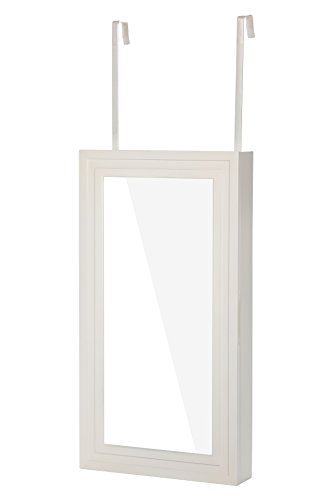 W Unlimited Modern Wall-Hanged Mirror Jewelry Cabinet Storage Armoire All White (White)
