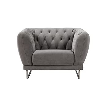 American Eagle Furniture Barrett Collection Fabric Living Room Armchair with Tufted Back and Armrests, Gray