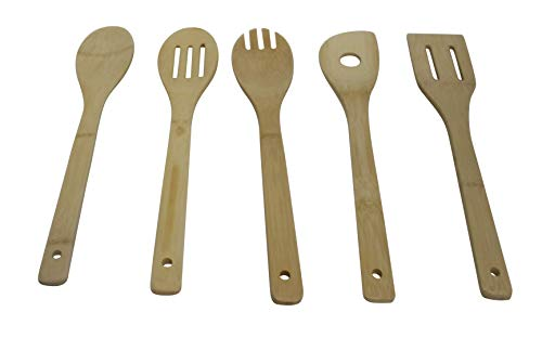 IMUSA USA 5pc Bamboo Set Spatula, Risotto, Slotted, Solid Spoon, Rounded Fork, 5 Piece, Maple