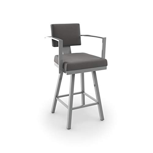 (Amisco Akers Counter Swivel Metal Stool 26-inch Glossy Grey Metal/Grey Glossy)