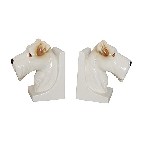 Comfy Hour Set of 2 Dog Head Scottish Terrier Head Bookends Art Bookend, 1 Pair, Heavy Weight, White & Brown ()