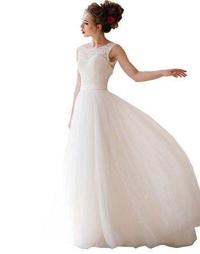 Hochzeitskleid Brautkleid Prinzessin Rückenfrei A Tüll Linie Elfenbein Erosebridal Spitzen wqx0zn1