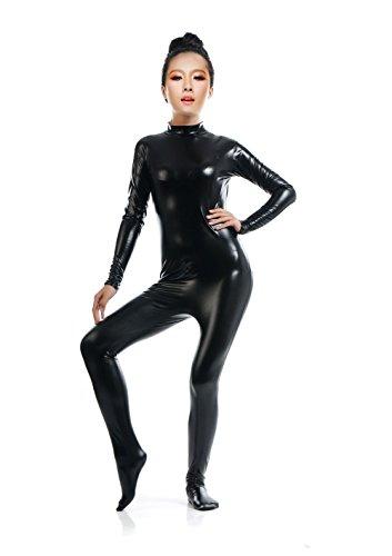Treasure-box Women's Shiny Metallic Catsuit Zentai Dancewear Spandex Bodysuit XL Black (Shiny Black Bodysuit)