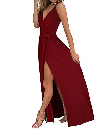 II ININ Women's Deep V-Neck Strap Casual Solid Sundress Maxi Split Dress(Wine,XXL)