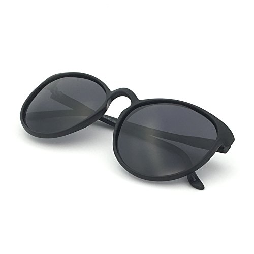 J+S Maya Geeky Retro Round Cat Eyes Matte Finish Oversized Polarized 100%UV Sunglasses for Women (Black Frame Black - Sunglasses S J