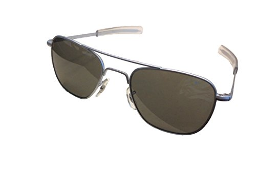 AO Original Pilot 57mm Matte Chrome Frame with Bayonet Temples and True Color Gray Glass Lens (For Men Pilot Sunglasses)