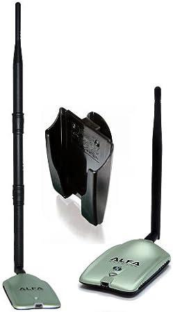 2000mW 2W 802.11 adaptador de red inalámbrica G / N ALTA GANANCIA USB de largo WiFi con Alfa NETWORKS original de la antena giratoria 9dBi goma y muelle ventana ventosa