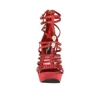 The Highest Heel SOPHIA-11 Rhinestone Strippy, Red Satin Genuine, Platform Sandle, 9 B(M) US -