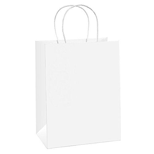 BagDream Gift Bags 8x4.75x10.5 Inches 50Pcs Medium Paper Bags, Shopping Bags, Kraft Bags, Retail Bags, White Paper Gift Bags with Handles Bulk (Gold Silver Bureau)