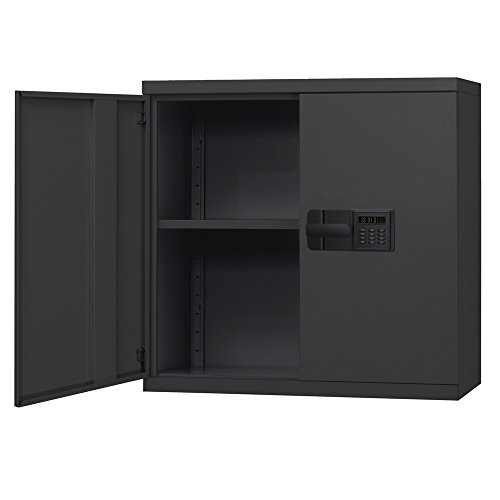 Sandusky Lee KDEW3012-09 Black Steel Wall Cabinet, Keyless Electronic lock, 1 Adjustable Shelf, 30'' Height x 30'' Width x 12'' Depth by Sandusky