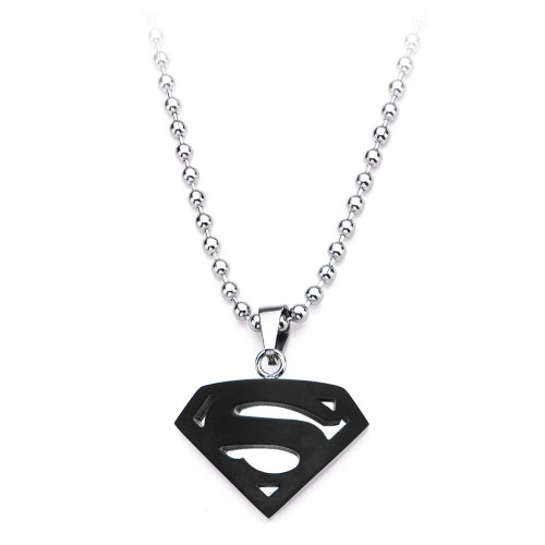 Animewild DC Comics Superman Shield Logo Black Pendant with Ball - Pendant Logo Shield