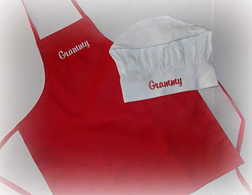 Kid size children apron and chef hat embroider -