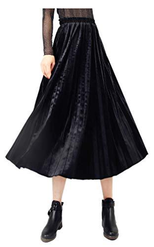 ARJOSA Women's Vintage Velvet Metallic Shiny Shimmer Pleated Swing Midi A-line Skirt (Black, L)