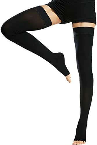 Beister Medical Open Toe Thigh High Compression Stockings with Silicone Band for Women & Men, Firm 20-30 mmHg Graduated Support for Varicose Veins, Edema, Flight, Black, Large