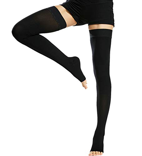 Beister Medical Open Toe Thigh High Compression Stockings with Silicone Band for Women & Men, Firm 20-30 mmHg Graduated Support for Varicose Veins, Edema, Flight