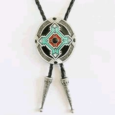 Native American Indian Art Bolo Tie - 059 (Tiger Tips Dynamite)