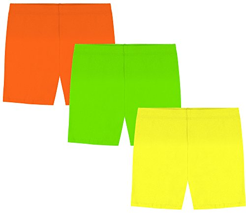 My Way Girls' Value Pack Solid Cotton Bike Shorts - Yellow, Orange, and Lime Green - 4