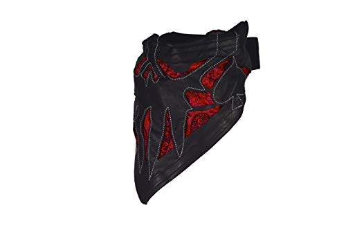 Leather Face Motorcycle Riding Mask Leather Half Face Mask (Ac of Spades - Black Leather, Red)