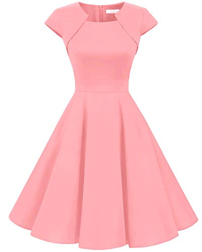 Homrain Women's 1950s Retro Vintage A-Line Cap Sleeves Cocktail Swing Party Dress Blush XS