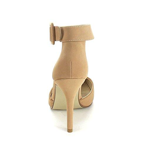 Bonnibel Donna Mavis Dorsay Punta A Punta Cinturino Alla Caviglia Regolabile Scarpe Tacco Alto Sandalo Arrossire