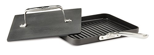 All-Clad E7959664 HA1 Hard Anodized Nonstick Dishwasher Safe PFOA Free Panini Pan with Press Cookware, 12-Inch, Black